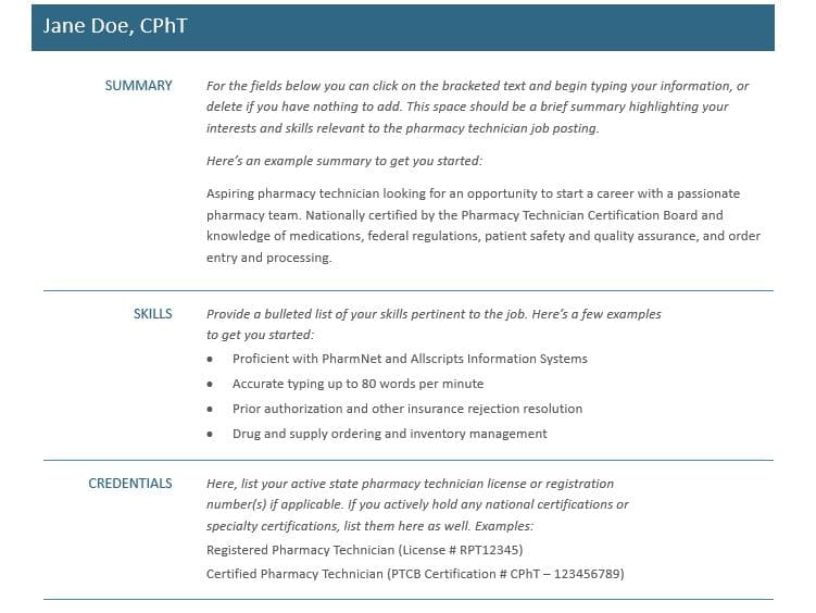 Resume for pharmacy technicians